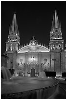 Cathedral by night. Guadalajara, Jalisco, Mexico (black and white)