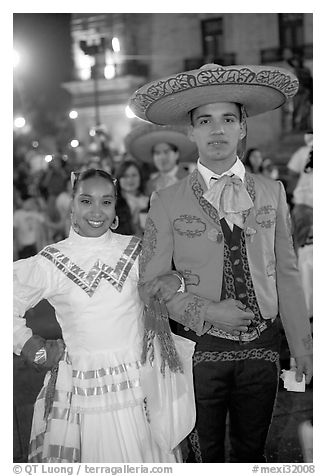 Man and woman in traditional mexican costume. Guadalajara, Jalisco, Mexico
