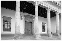 Exterior entrance porch of Hospicios de Cabanas. Guadalajara, Jalisco, Mexico ( black and white)