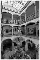 Interior of four-century old Hotel Frances. Guadalajara, Jalisco, Mexico (black and white)