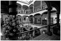 Inside Hotel Frances. Guadalajara, Jalisco, Mexico (black and white)