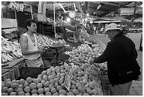 Fruit vending in Mercado Libertad. Guadalajara, Jalisco, Mexico ( black and white)