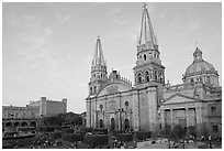 Cathedral and Plaza de los Laureles. Guadalajara, Jalisco, Mexico (black and white)