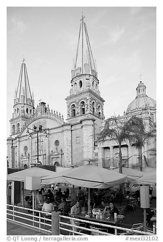 Restaurant and cathedral, late afternoon. Guadalajara, Jalisco, Mexico