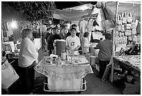 Mobile food vendor and craft night market, Tlaquepaque. Jalisco, Mexico (black and white)