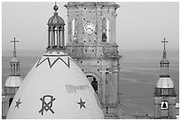 Templo de Guadalupe Cathedral and ocean, early morning, Puerto Vallarta, Jalisco. Jalisco, Mexico (black and white)