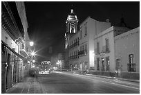 Street by night with light trails. Zacatecas, Mexico (black and white)