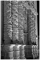 Churrigueresque columns on the facade of the Cathdedral. Zacatecas, Mexico (black and white)