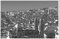 Panoramic view of Cathedral and town, morning. Zacatecas, Mexico (black and white)