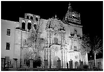 Templo de la Compania de Jesus at night. Guanajuato, Mexico (black and white)