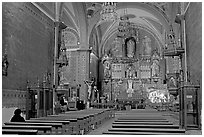 Church nave with decorated altar. Guanajuato, Mexico (black and white)