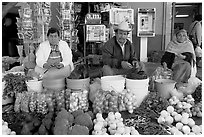 Fruit and vegetable vendors on the street. Guanajuato, Mexico (black and white)