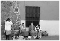 Women selling vegetables on the street. Guanajuato, Mexico (black and white)