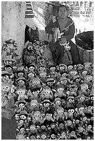 Woman selling Traditional puppets. Guanajuato, Mexico (black and white)
