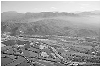 Aerial view plain and Sierra de Madre. Mexico ( black and white)