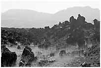 Hardened lava and hills. Mexico (black and white)