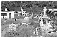 Cemetery with tombs of all shapes and sizes. Mexico ( black and white)