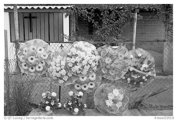 Floral wheels in a cemetery. Mexico (black and white)