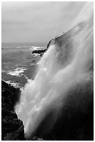 Tidewater blowhole, La Bufadora. Baja California, Mexico (black and white)