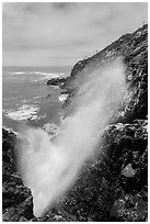 Tidal blowhole, La Bufadora. Baja California, Mexico (black and white)