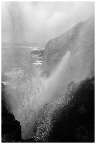 Marine geyser blowing up 100 feet, La Bufadora. Baja California, Mexico (black and white)