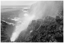 Jet of water blowing up 30 meters, La Bufadora. Baja California, Mexico (black and white)