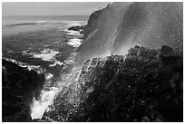 Cliffs and spray from blowhole, La Bufadora. Baja California, Mexico (black and white)