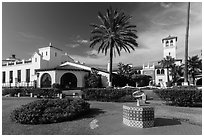 Riviera del Pacífico in Moorish-style architecture, Ensenada. Baja California, Mexico (black and white)