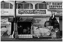 Fish taco restaurant, Ensenada. Baja California, Mexico (black and white)