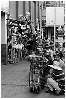 Souvenirs stands on sidewalk, Ensenada. Baja California, Mexico (black and white)