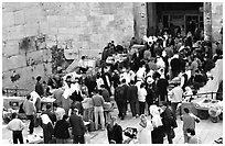 Crowds outside Damascus Gate. Jerusalem, Israel (black and white)