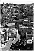 Crowded streets and roofs of the old town. Jerusalem, Israel (black and white)