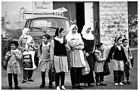 Muslem women and girls, East Jerusalem. Jerusalem, Israel (black and white)