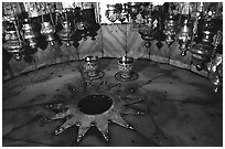 The nativity star in the Church of the Nativity, Bethlehem. West Bank, Occupied Territories (Israel) (black and white)