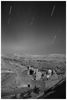 Star trails above the Mar Saba Monastery. West Bank, Occupied Territories (Israel) ( black and white)