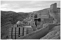 Mar Saba Monastery, sunrise. West Bank, Occupied Territories (Israel) (black and white)