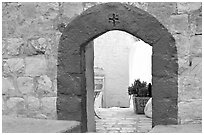 Blue doorway inside the Mar Saba Monastery. West Bank, Occupied Territories (Israel) ( black and white)