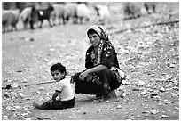 Bedouin woman and child, Judean Desert. West Bank, Occupied Territories (Israel) (black and white)