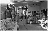 Paintings in Artist's shop, Artist Quarter, Safed (Zefad). Israel ( black and white)