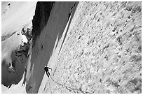 On the  North face of Tour Ronde, Mont-Blanc range, Alps, France. (black and white)