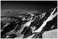 Bionnassay ridge from the Jaccoux-Domenech route, Italy. (black and white)