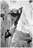 Climber on Aig. des Pelerins,  Mont-Blanc Range, Alps, France. (black and white)