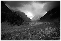 Mer de Glace (sea of ice), the second longest glacier in the Alps, seen from Montenvers. Alps, France (black and white)