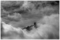 Aiguille du Midi summit emerges from the clouds. Alps, France (black and white)