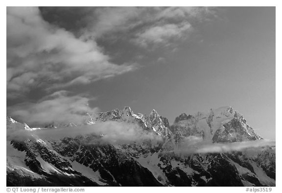 Grandes Jorasses and aretes de Rochefort seen from the Val Veny at sunrise, Alps, Italy.