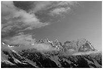 Grandes Jorasses and aretes de Rochefort seen from the Val Veny at sunrise, Alps, Italy. (black and white)