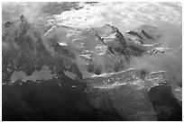 Aiguille du Midi, Tacul, Mt Maudit, and Mt Blanc, Alps, France. (black and white)