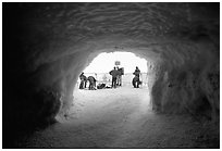 Ice tunnel leading to the ridge exiting Aiguille du Midi. Alps, France (black and white)