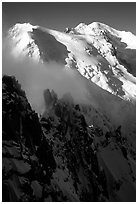 Cosmiques ridge, Tacul and Mont-Blanc. Alps, France (black and white)