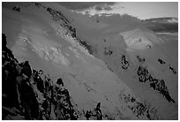 North Face of Mont-Blanc and Dome du Gouter, France. (black and white)